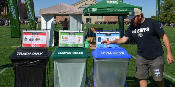 Recycling, compost and trash bins near Folsom Field