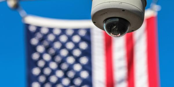 Security camera with American flag