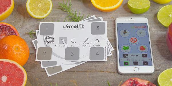 A photo of the usmellit scratch and sniff app