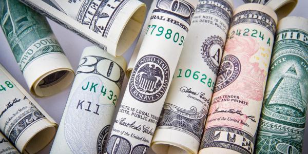 Rolls of paper money