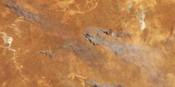Satellite image of wildfires in Australia in November 2019
