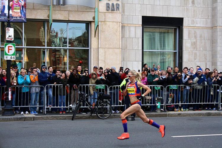 Shalane running the boston marathon