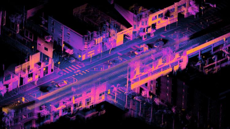 Image of city street taken by lidar technology
