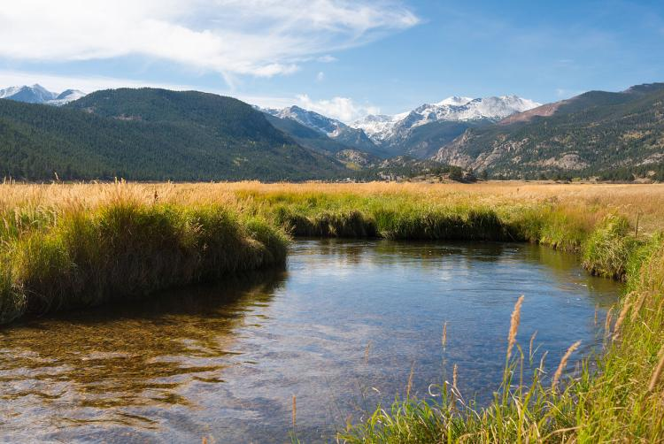 A stream flows through Moraine Valley in Rocky Mountain National Park