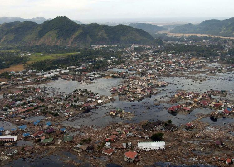 Runs and flooding left behind by tsunami.