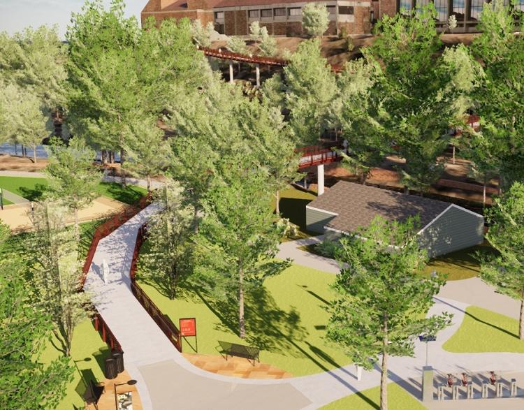 An illustration of the to-be-built 19th Street pedestrian bridge over Boulder Creek
