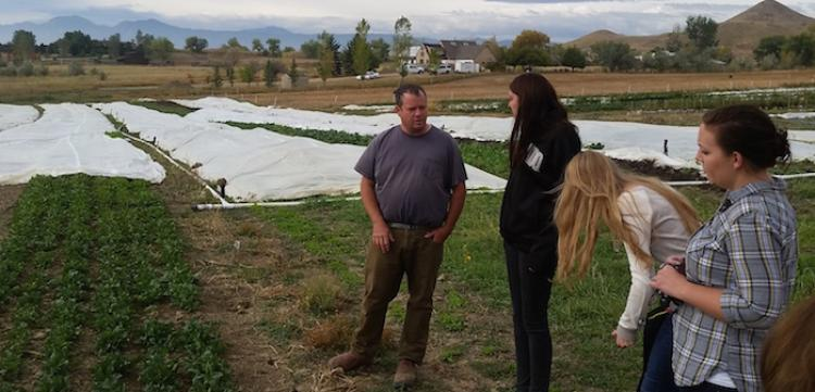 Student in Pete Newton's class on sustainability visit a local farm