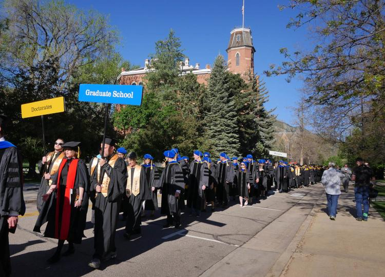 a line of phd candidates at 2017 commencement