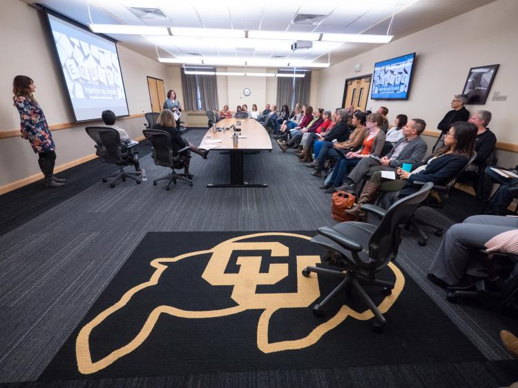 CU Buffs rug in focus at a 2018 Diversity and Inclusion Summit session