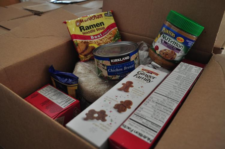 Inside a box of donated non-perishable foods