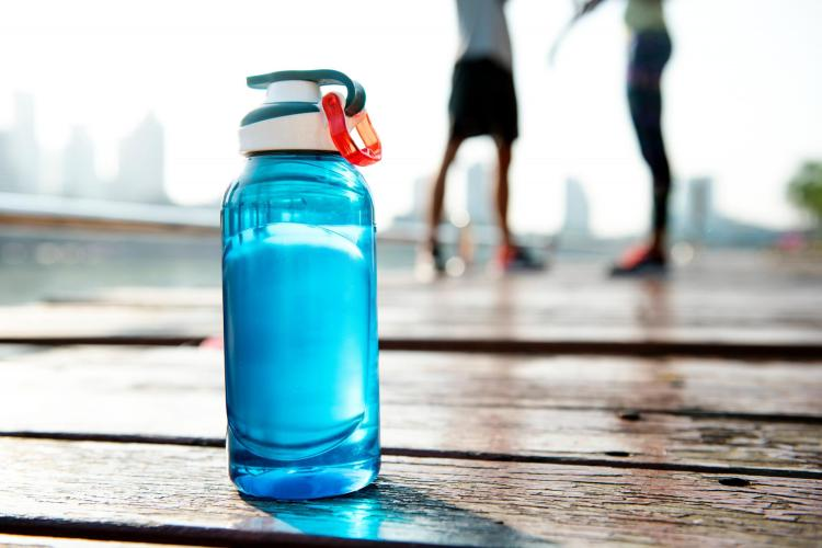 Blue refillable water bottle