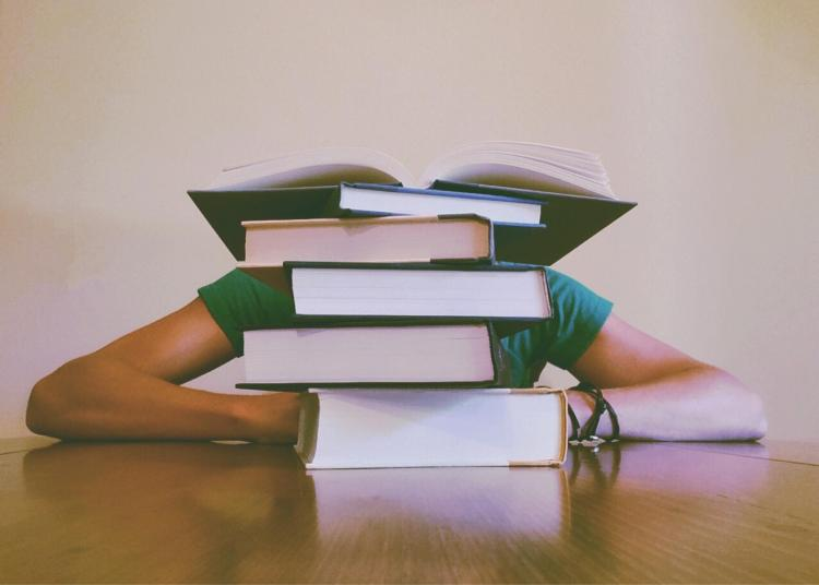 Person sulks behind pile of textbooks