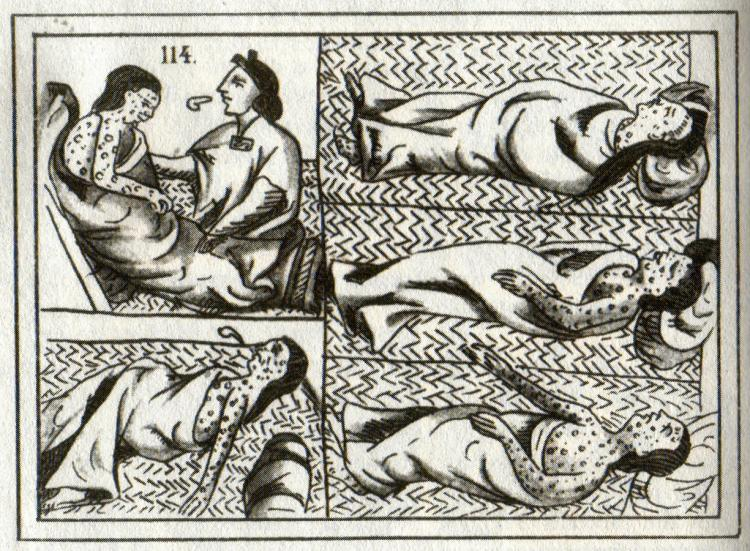 Several panels showing people suffering from smallpox