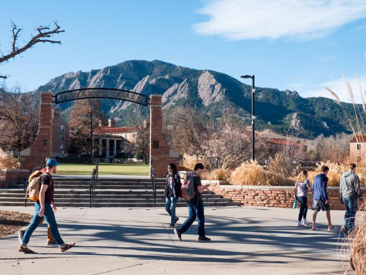 Students walk by Farrand Field, where many of the surrounding oak trees are infected with Allokermes scale