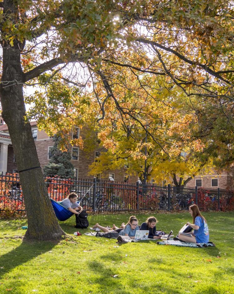 Students hang out at Norlin Quad