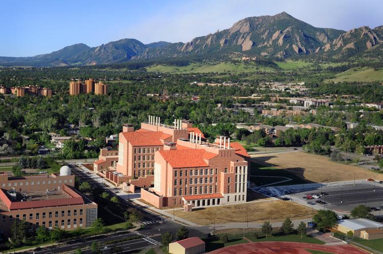 Aerial image of the Jennie Caruthers Biotechnology Building on the CU-Boulder campus.