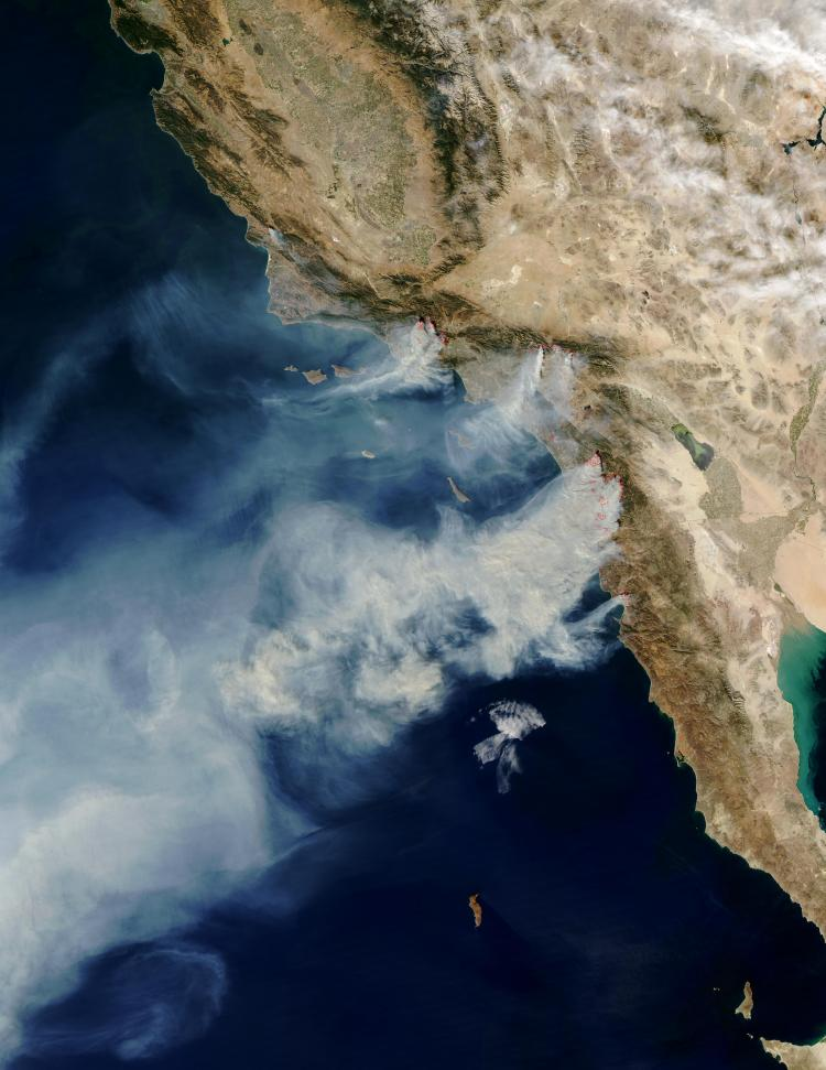 a NASA satellite image showing fires in California