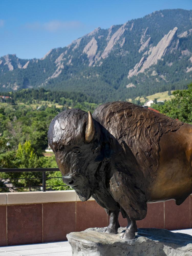 Ralphie statue atop CASE building