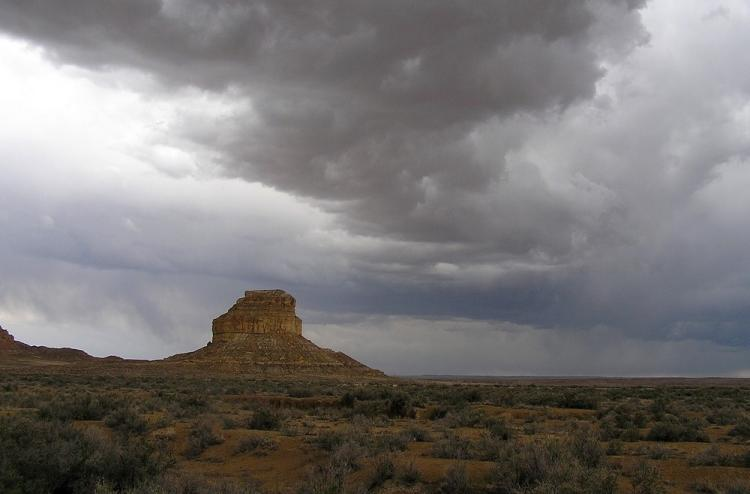 Thunder clouds above Fajada Butte in Chaco Canyon