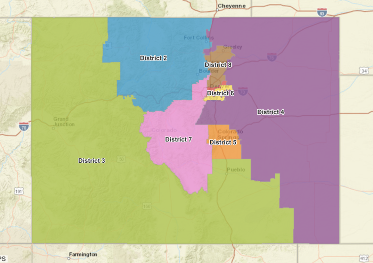Final approved map for Colorado's eight congressional districts