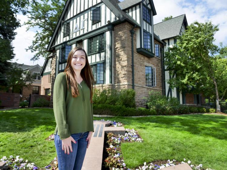 CU Boulder senior Cat Archer outside of her sorority house