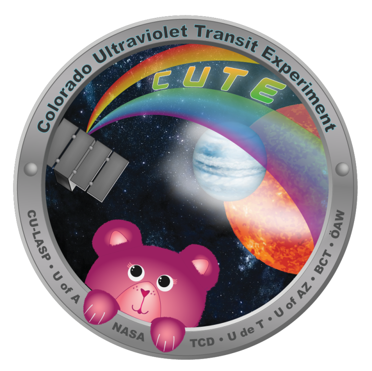 Logo for the Colorado Ultraviolet Transit Experiment (CUTE) featuring a teddy bear