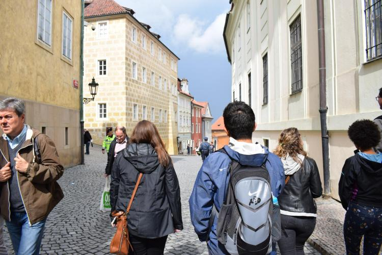 Students walk the streets of Prague