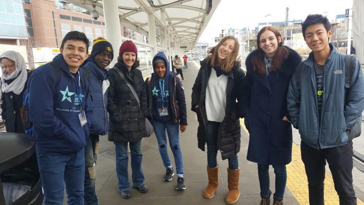 EducationUSA Academy group waiting to ride the Denver light rail