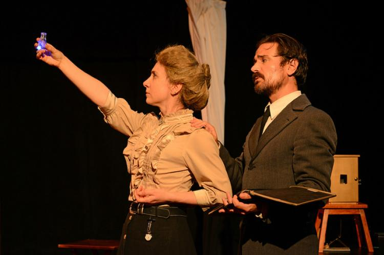 """Sadie Bowman and Ricky Coates as Marie and Pierre Curie in """"Curie me Away."""""""