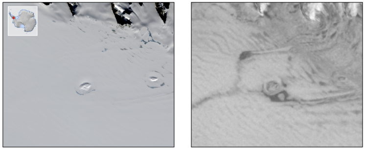 A section of the West Antarctic Ice Sheet as seen from space in visible (left) and microwave (right) light. Two subsurface lakes show up as dark patches in the microwave images.