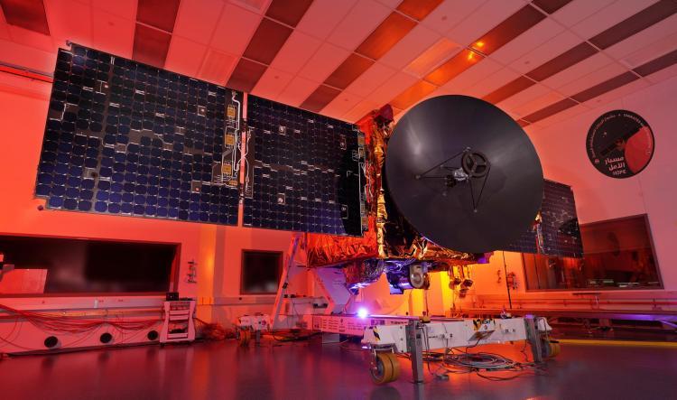 EMM spacecraft lit in red