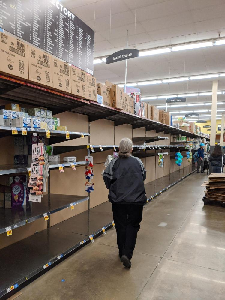 Empty shelves at a Boulder King Soopers on March 12. (Glenn Asakawa/CU Boulder)
