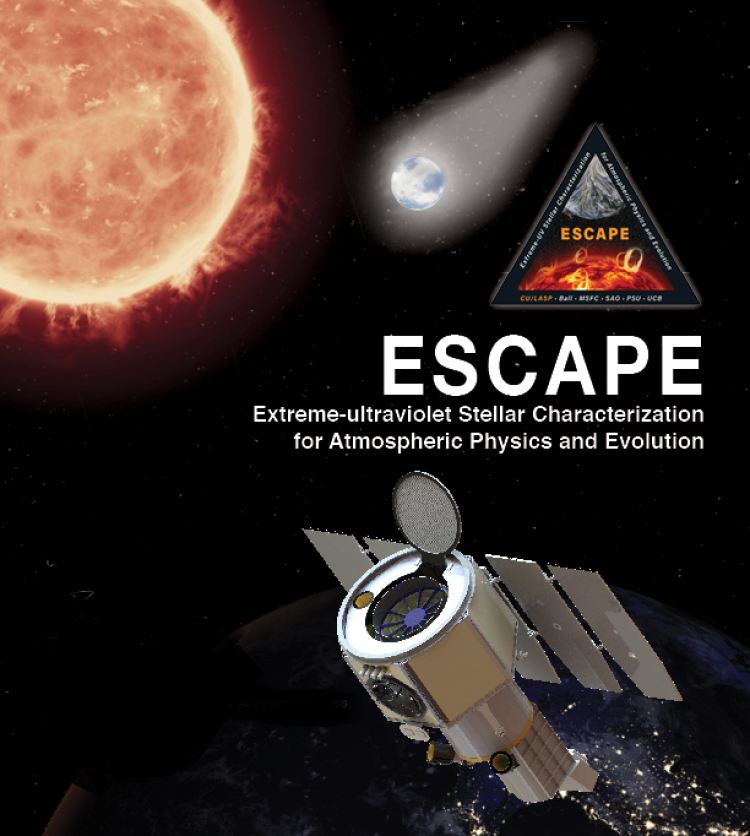 A concept design for the Extreme-ultraviolet Stellar Characterization for Atmospheric Physics and Evolution (ESCAPE) spacecraft in a far-away star system.