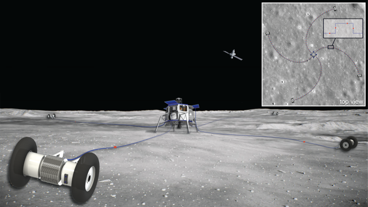 Graphic showing rolling robots spooling out antennae on the moon's surface, with an inset showing the spiral shape of that antennae array from above.