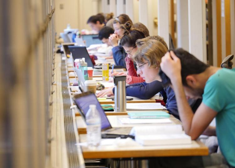 Students study in the Music Library during the fall semester finals week