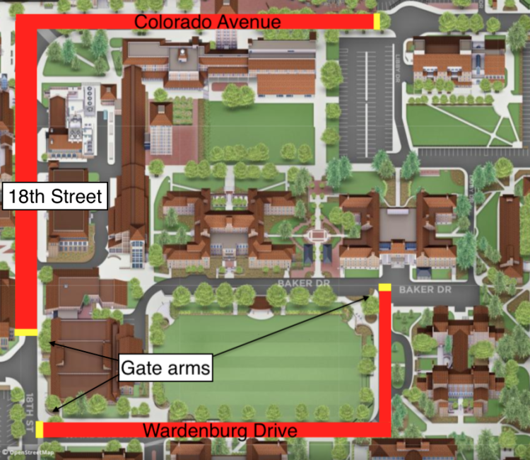 Map showing the gate arm closures on the CU Boulder campus