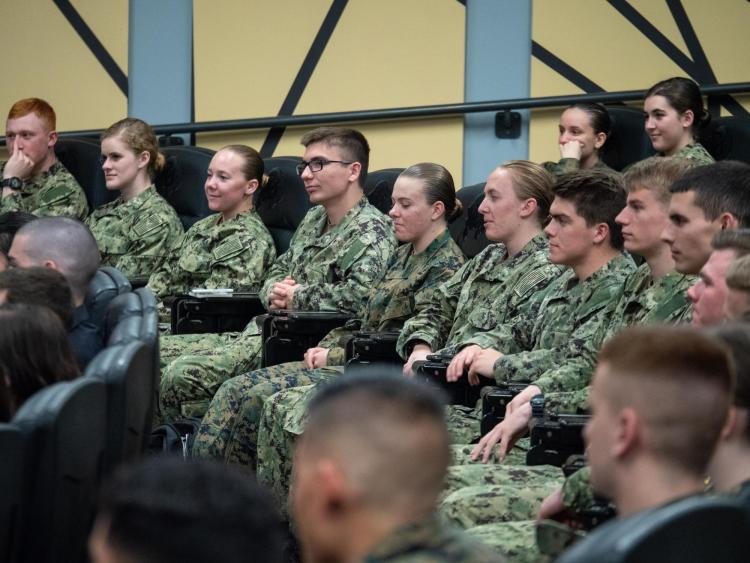 ROTC students listen to Retired Gen. George W. Casey Jr. speak