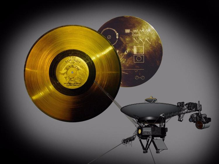 Rendering of the Voyager spacecraft's Golden Records