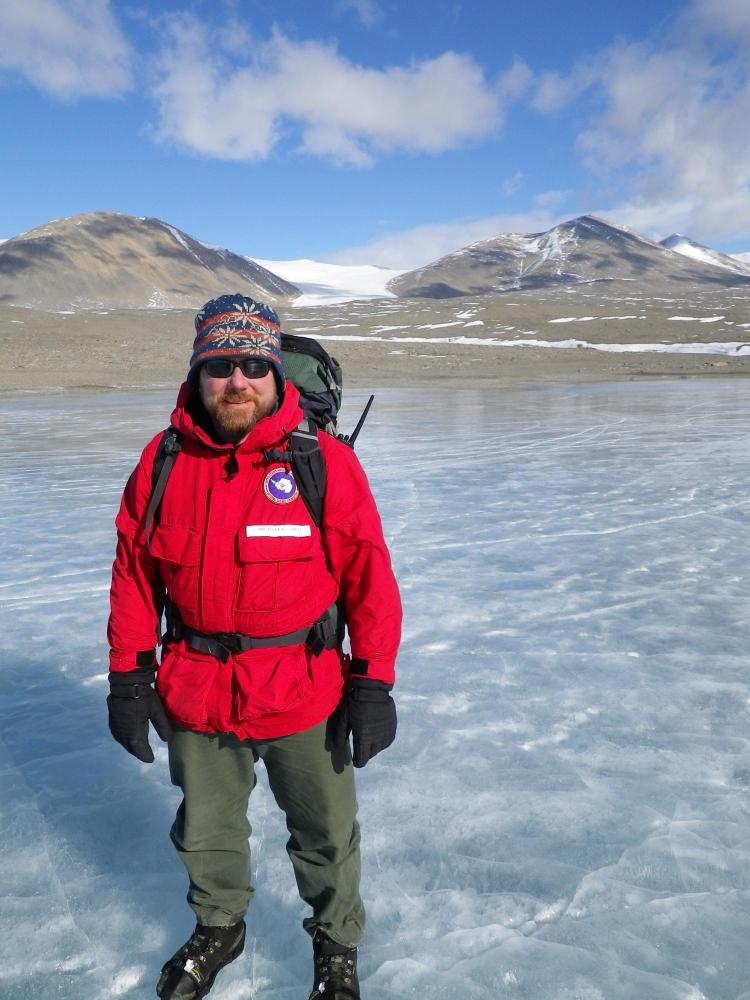 Michael Gooseff on Antarctica's Lake Fryxell.
