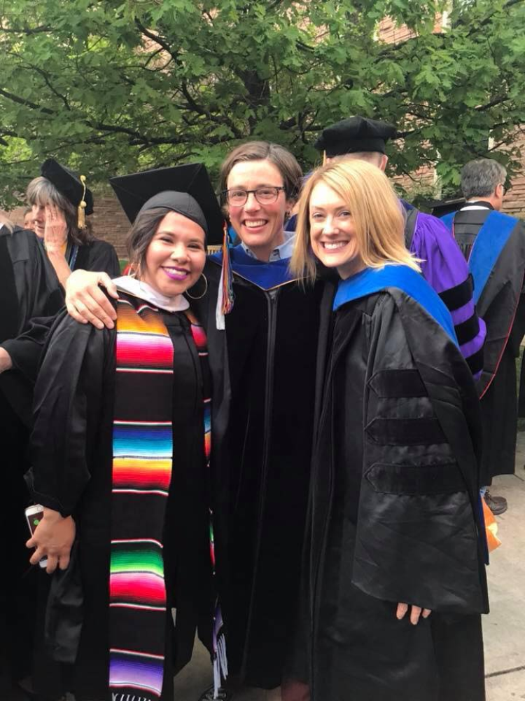 From left to right, Brittni Laura Hernandez, Bethy Leonardi and Sara Staley at a graduation event on the CU Boulder campus