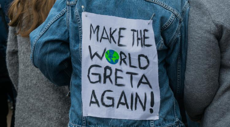A sign that says make the world Greta Again