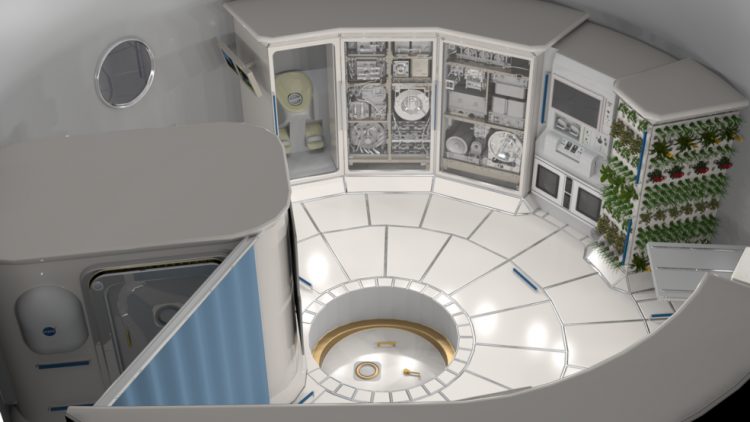 An artist's depiction of the inside of a space habitat.