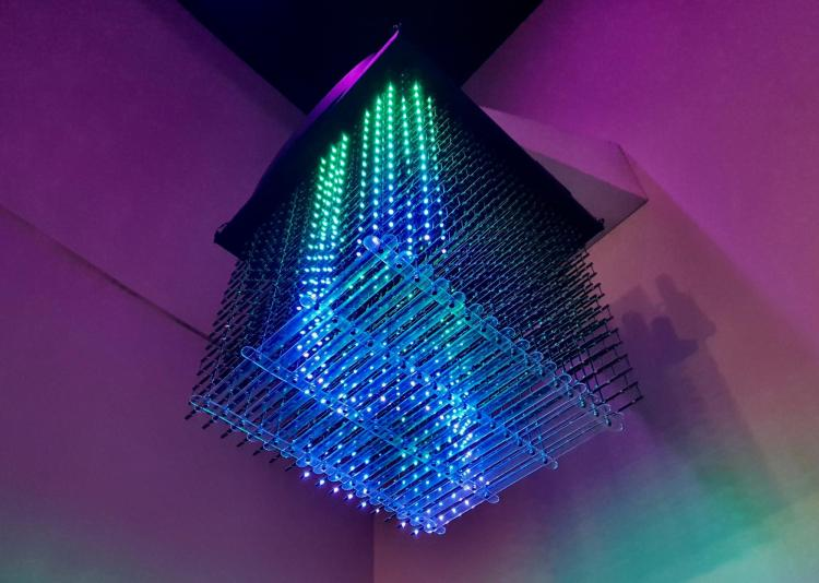 This hanging cube uses LED lights to give viewers a look at the Aurora Borealis, or northern lights