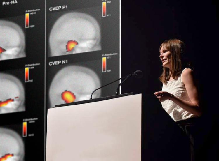 Hannah Glick, an audiologist and neuroscientist, won first place and the People's Choice award at the Three Minute Thesis (3MT) competition held at the Graduate School for her 3-minute talk on Your Brain on Hearing Aids. She also won first place at the Western Association of Graduate Schools' grand slam 3-minute competition.