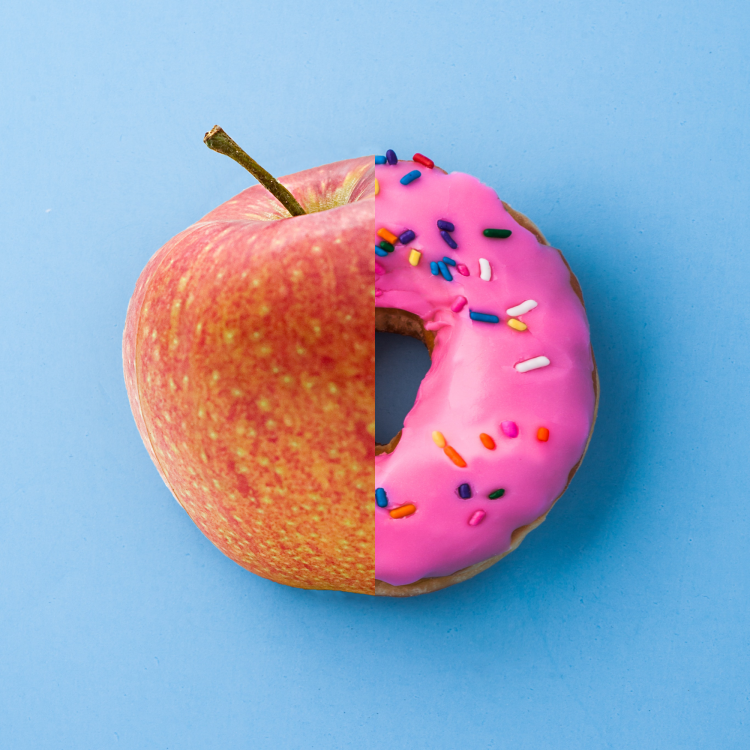 A donut and an apple.