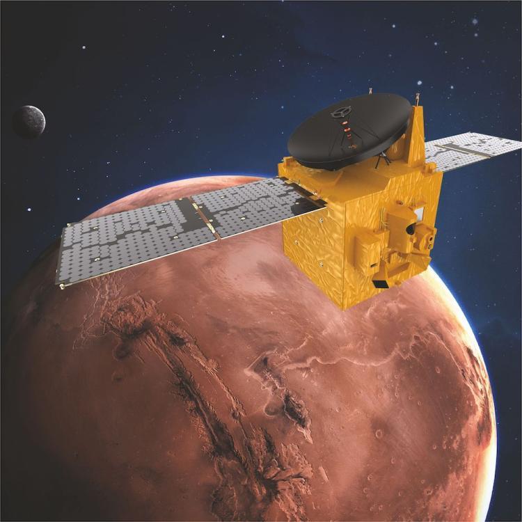 Artist's depiction of Hope in orbit around Mars