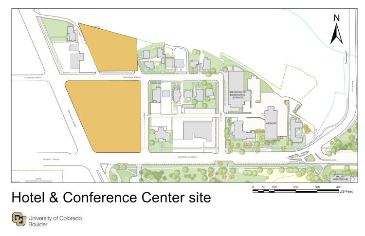 An image showing the proposed site for a hotel and conference center on the CU Boulder campus, located along Grandview and University avenues on the northwest corner of the campus.