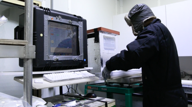 student working in the ice core lab