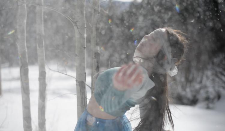 Rae Lewark performing in snow