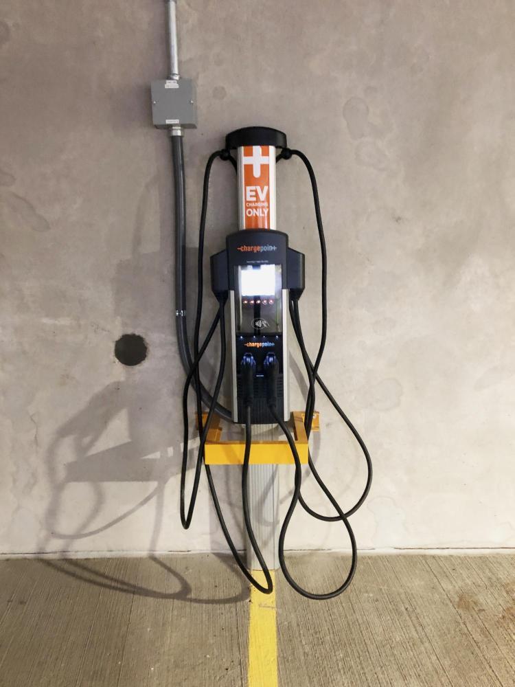 EV charging station in parking garage